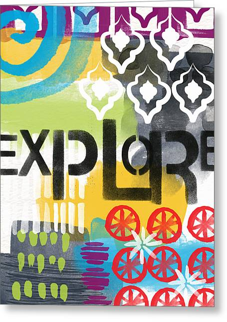 Life Line Mixed Media Greeting Cards - Explore- Contemporary Abstract Art Greeting Card by Linda Woods