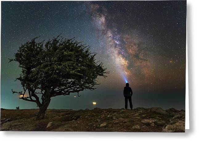 Explorer Looking At The Milky Way Greeting Card by Yuri Zvezdny