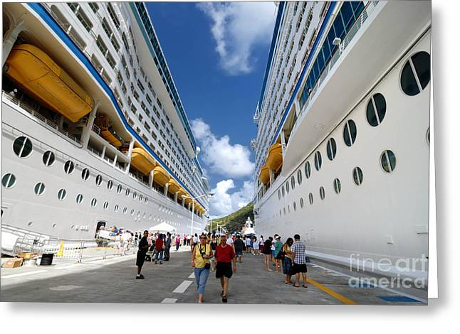 Cruise Ships Greeting Cards - Explorer of the Seas and Adventure of the Seas Greeting Card by Amy Cicconi