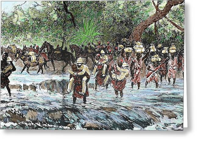 Explorers Crossing A Stream Greeting Card by Prisma Archivo