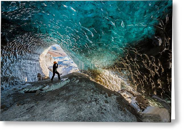 Climate Change Greeting Cards - Exploring A Glacial Ice Cave Greeting Card by Panoramic Images
