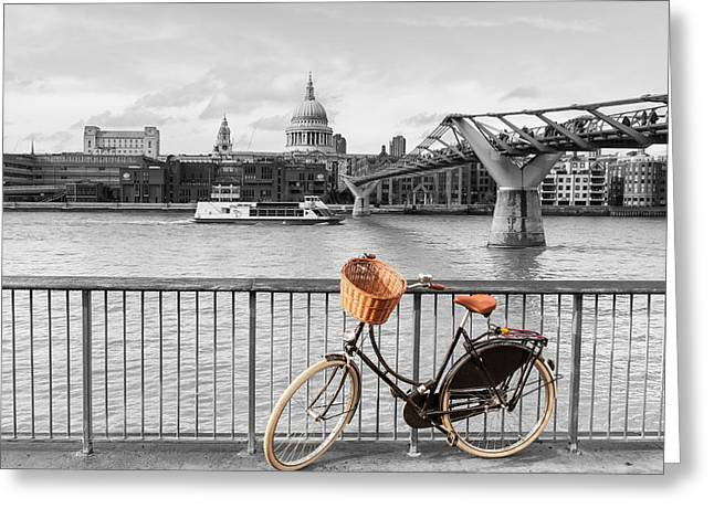 Pushbike Greeting Cards - Exploring London on a bicycle Greeting Card by Francoise de Valera James