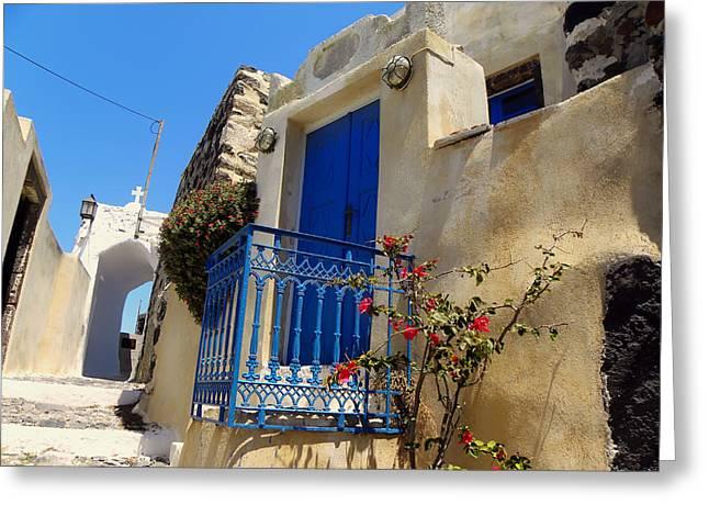 Exploring Santorini Island - Greece Greeting Card by Mountain Dreams