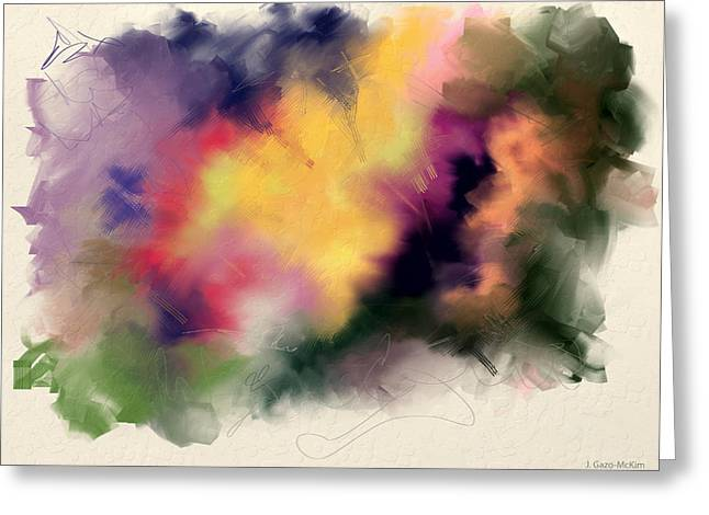 Abstract Digital Paintings Greeting Cards - Exploring Shapes 01 Greeting Card by Jo-Anne Gazo-McKim