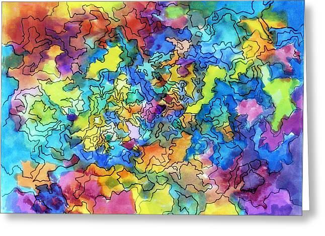 Vivid Colour Mixed Media Greeting Cards - Exploring Shapes 02 Greeting Card by Jo-Anne Gazo-McKim