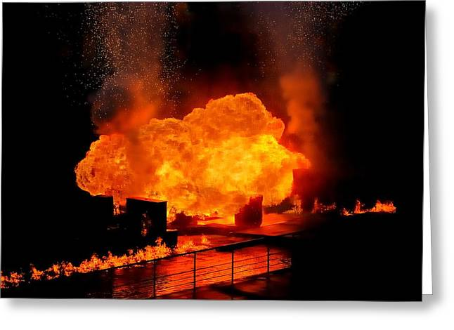Temperature Greeting Cards - Explosion and Fire Greeting Card by Jim Hughes
