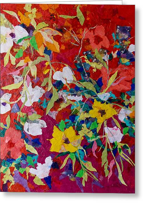 Kat Mixed Media Greeting Cards - Explosion Collage Greeting Card by Kat Ebert