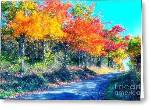 Country Dirt Roads Digital Greeting Cards - Explosion of Color - Blue Ridge Mountains I Greeting Card by Dan Carmichael