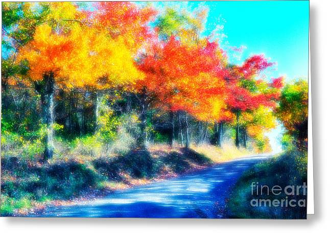 Paint Photograph Greeting Cards - Explosion of Color - Blue Ridge Mountains II Greeting Card by Dan Carmichael