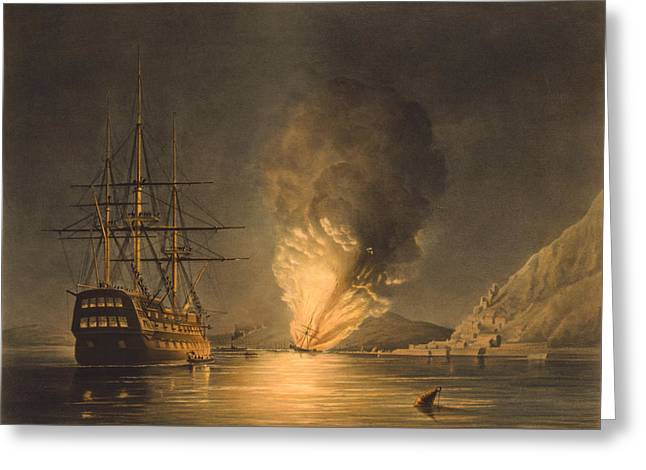 Uss Greeting Cards - Explosion Of The USS Steam Frigate Missouri Greeting Card by War Is Hell Store