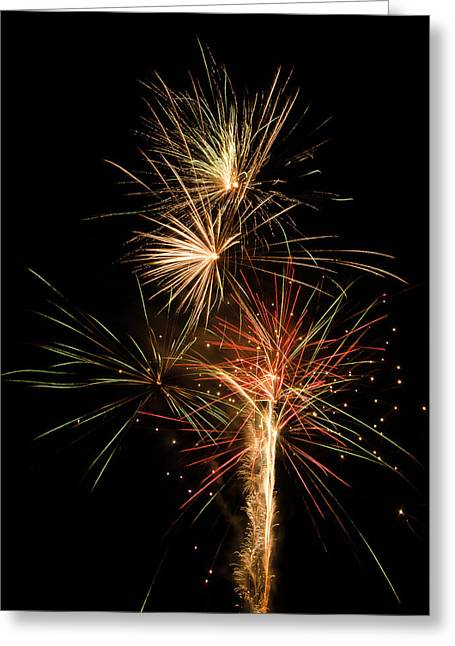 July 4th Pyrography Greeting Cards - Explosion Greeting Card by Shirley Tinkham