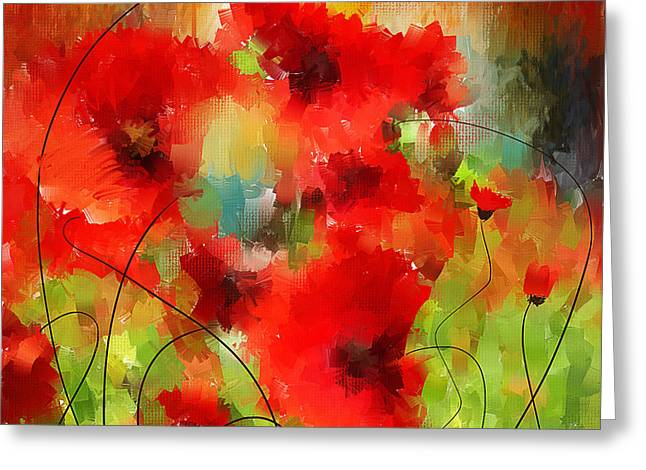 Veterans Memorial Paintings Greeting Cards - Explosions Galore Greeting Card by Lourry Legarde