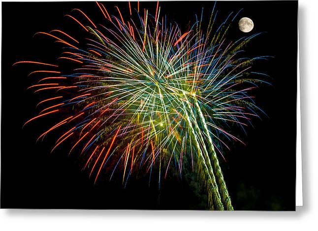Pyrotechnics Greeting Cards - Explosions of Color - Fireworks and Moon Greeting Card by Penny Lisowski