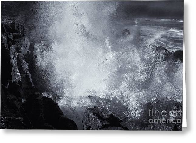 Eruption Greeting Cards - Explosive Sea Greeting Card by Mike  Dawson