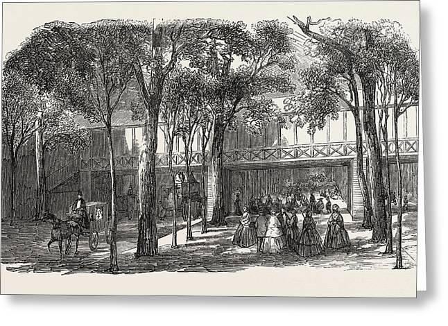 Expo 1855. Walkway Of The Rotunda Annex Greeting Card by French School