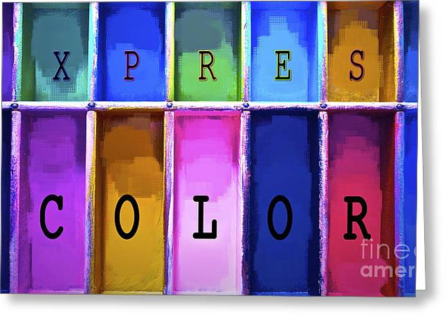 Color Colorful Mixed Media Greeting Cards - Express Color Greeting Card by Gwyn Newcombe