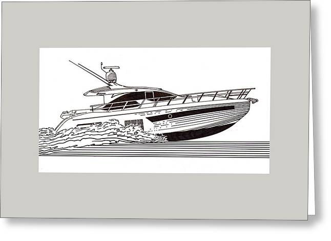 Sailboats In Harbor Greeting Cards - Express Sport Yacht Greeting Card by Jack Pumphrey