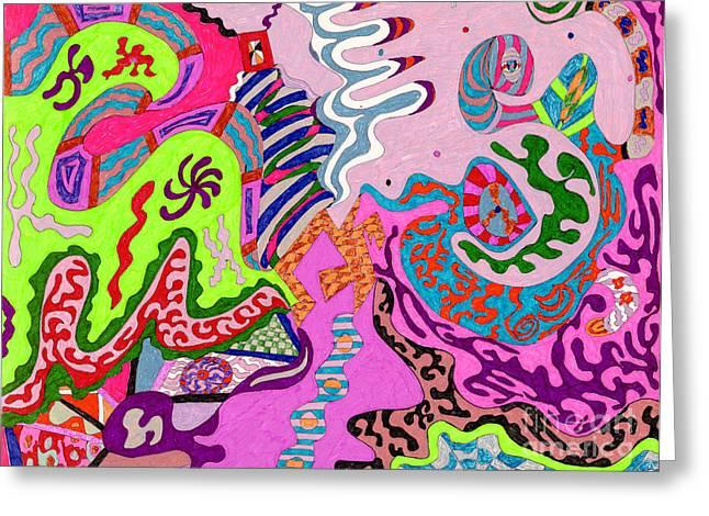 Organic Drawings Greeting Cards - Expression Fantastic Greeting Card by Rebekah  McLeod