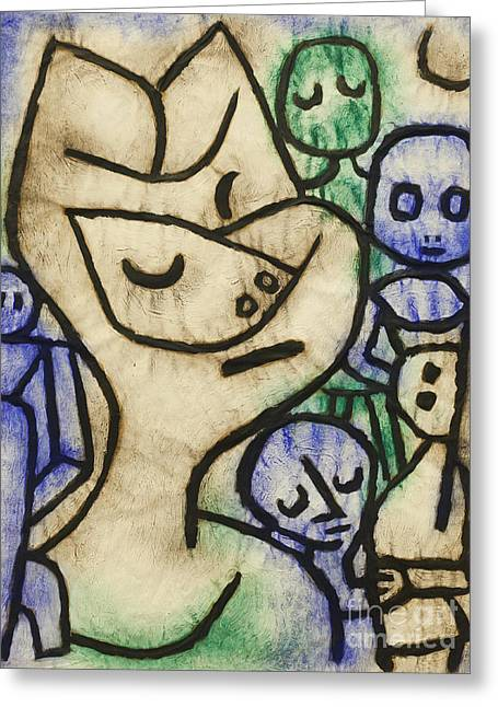 Rde Greeting Cards - Expression of a face by Paul Klee Greeting Card by Roberto Morgenthaler
