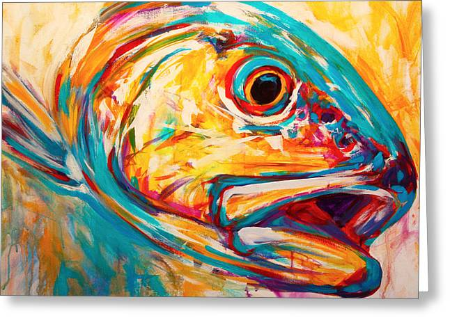 Fly Paintings Greeting Cards - Expressionist Redfish Greeting Card by Mike Savlen