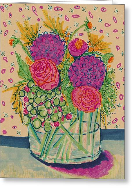 Nature Study Mixed Media Greeting Cards - Expressive Flowers Greeting Card by Rosalina Bojadschijew