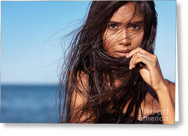 Wet Hair Greeting Cards - Expressive portrait of young woman with long wet brown hair Greeting Card by Oleksiy Maksymenko