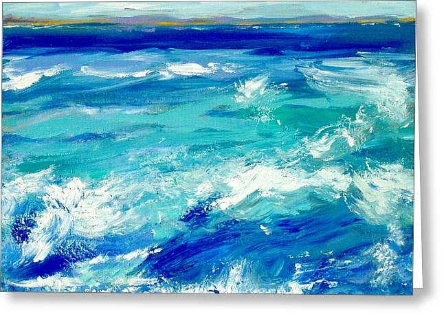 Turbulent Blue Skies Paintings Greeting Cards - Expressive Sea  Greeting Card by JC Strong