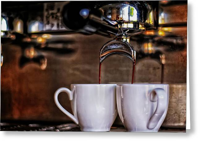 Pouring Greeting Cards - Expresso Greeting Card by Mountain Dreams