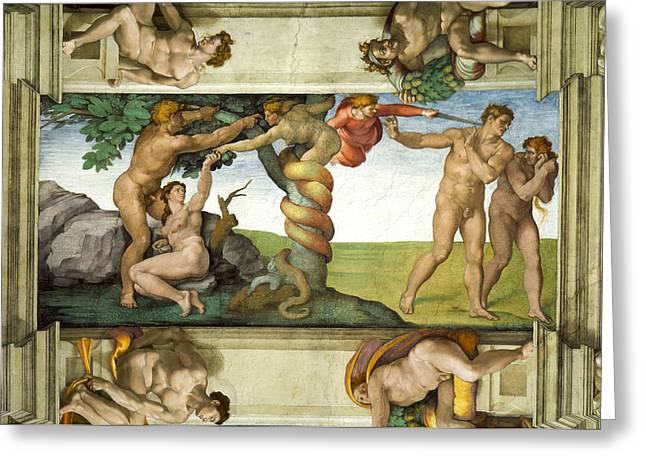 Michelangelo Greeting Cards - Expulsion from Paradise Greeting Card by Michelangelo di Lodovico Buonarroti Simoni