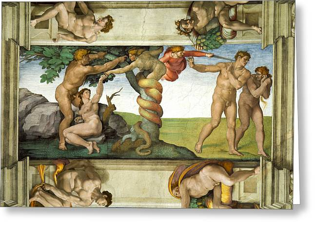 Expulsion From Paradise Greeting Card by Michelangelo di Lodovico Buonarroti Simoni