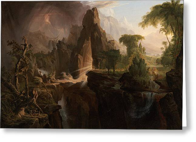 Thomas Cole Greeting Cards - Expulsion from the Garden of Eden Greeting Card by Thomas Cole