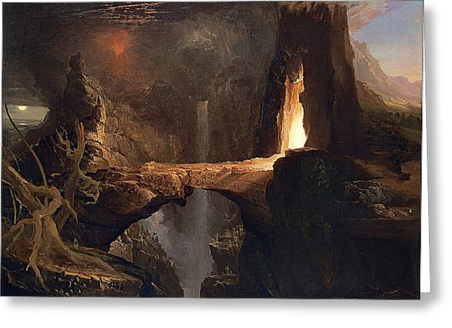 Thomas Cole Greeting Cards - Expulsion. Moon and Firelight Greeting Card by Thomas Cole