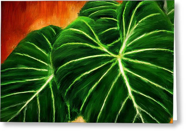 Tropical Leaves Greeting Cards - Exquisite Collection- Philodendron Gloriosum Greeting Card by Lourry Legarde