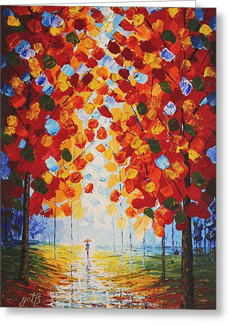 Autumn Landscape Paintings Greeting Cards - Exquisite Fall original palette knife painting Greeting Card by Georgeta Blanaru
