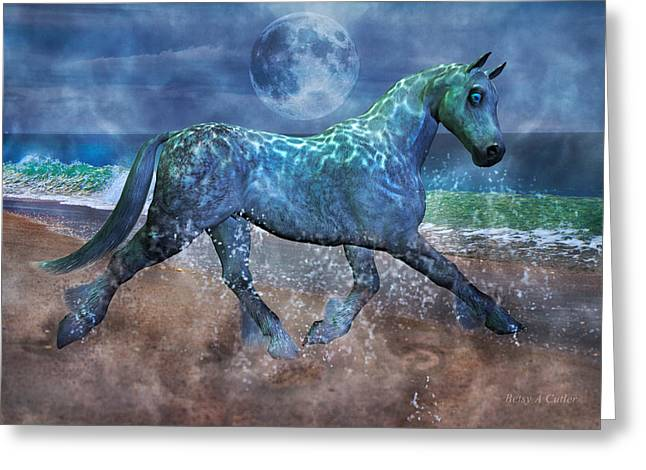 Moon Rise Greeting Cards - Extension of the Sea Greeting Card by Betsy C  Knapp