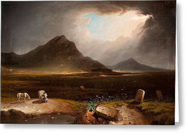 Sun Rays Paintings Greeting Cards - Extensive Landscape With Stonemason Greeting Card by Daniel M. Mackenzie