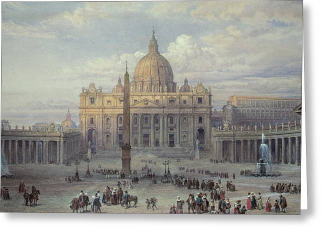 From The Dome Greeting Cards - Exterior of St Peters in Rome from the Piazza Greeting Card by Louis Haghe