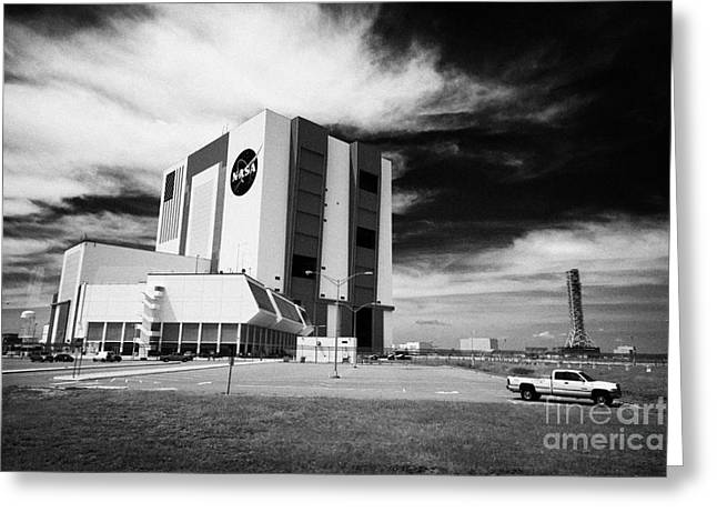Kennedy Space Center Greeting Cards - exterior of the vab vehicle assembly building and launch control center Kennedy Space Center Florida Greeting Card by Joe Fox