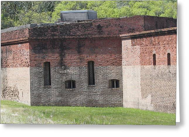 Civil War Battle Site Greeting Cards - Exterior View of Fort Clinch Greeting Card by Cathy Lindsey