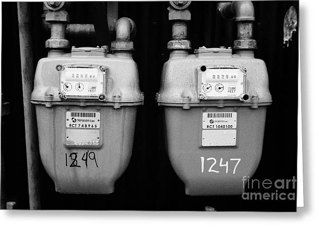 North Vancouver Greeting Cards - external gas meters on property Vancouver BC Canada Greeting Card by Joe Fox