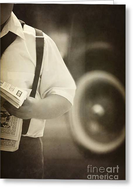Suspenders Greeting Cards - Extra Extra Greeting Card by Margie Hurwich
