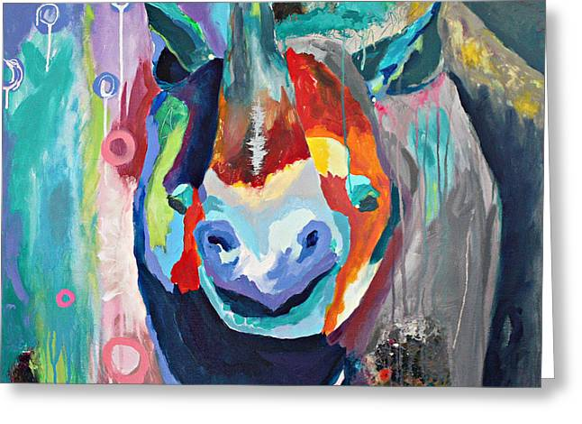 Rhinoceros Mixed Media Greeting Cards - Extraordinary Rhino Greeting Card by Alisa Steady