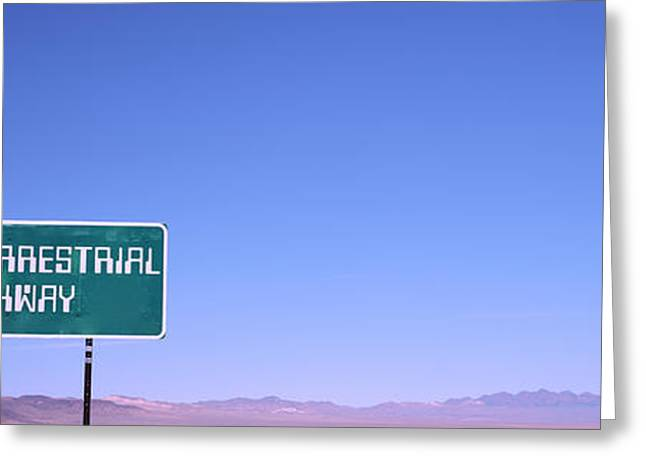 Extraterrestrial Greeting Cards - Extraterrestrial Highway Sign, Area 51 Greeting Card by Panoramic Images