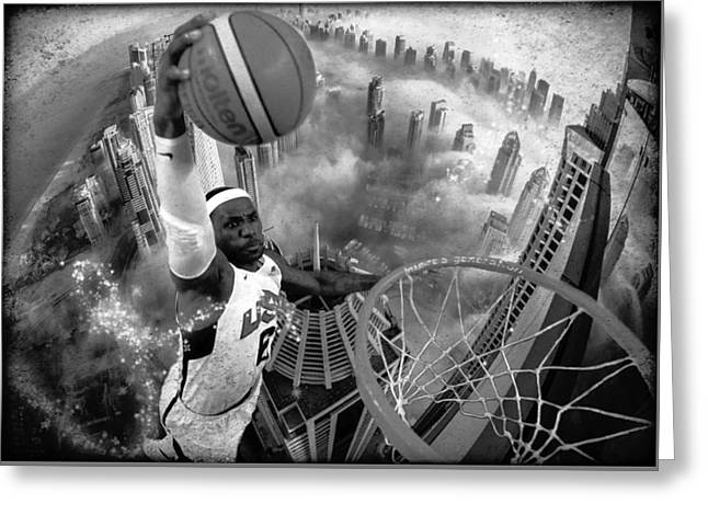 Digital Manipulation Greeting Cards - Extreme Basketball grayscale Greeting Card by Marian Voicu