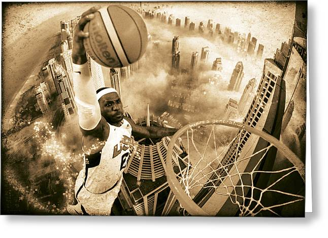 Oniric Greeting Cards - Extreme Basketball Greeting Card by Marian Voicu