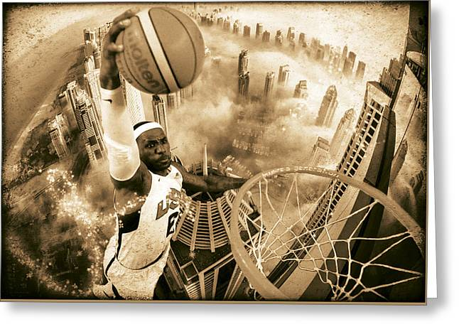 Basketballs Greeting Cards - Extreme Basketball Greeting Card by Marian Voicu