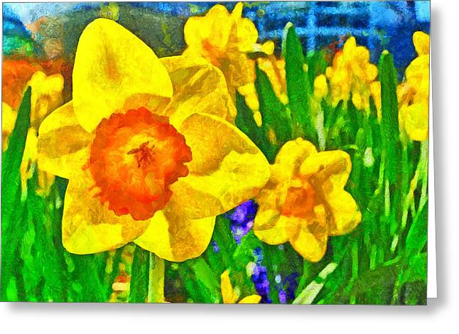 Extreme Daffodil Greeting Card by Digital Photographic Arts