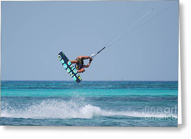 Kite Boarding Greeting Cards - Extreme Kitesurfing Greeting Card by DejaVu Designs