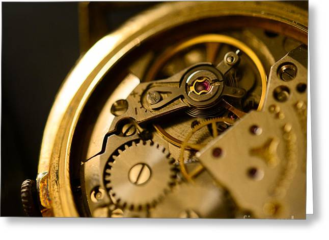 Mechanism Greeting Cards - Extreme macro shot of watch mechanism Greeting Card by Aleksandar Mijatovic