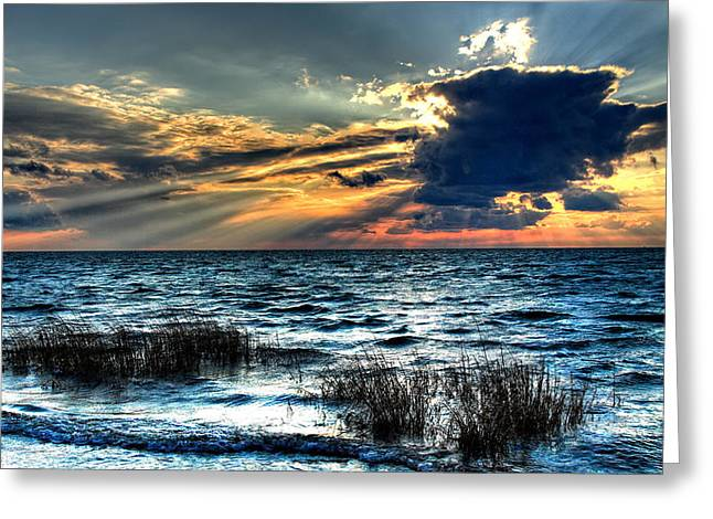 Sunset Framed Prints Digital Art Greeting Cards - Extreme Sunset - Outer Banks Greeting Card by Dan Carmichael